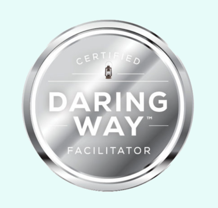image that says daring way™ facilitator. Begin online therapy in tennessee, online therapy in Florida, online therapy in pennsylvania, online therapy in ohio, online therapy in california with melissa russiano who offers therapy for therapists