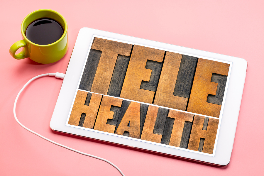 ipad with the words telehealth on it. Begin online therapy in florida with online therapist melissa russiano for burnout and compassion fatigue. You can get online counseling in Florida with Melissa for anxiety, depression, imposter syndrome and more.